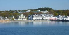 The Grand Hotel and Mackinac Island shoreline from the ferry